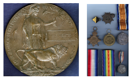 WW1 medals awarded to Pte. Eric Osmond Webster